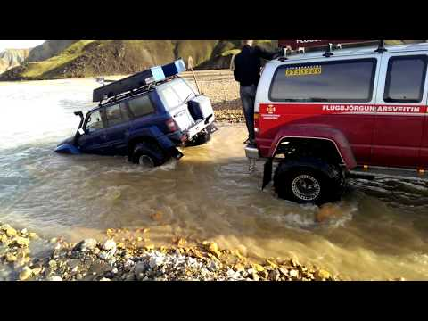 Rope tow rescue from Iceland river near Landmannalaugar