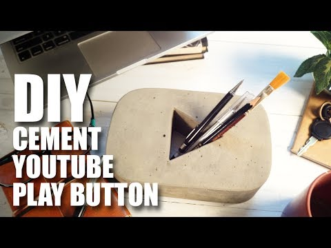 How to make a DIY Cement YouTube Play Button - Pen Holder
