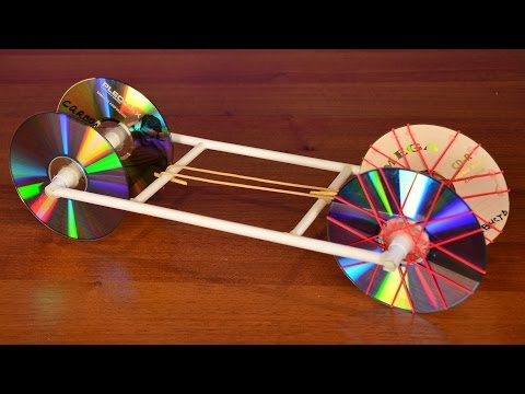 How to make a Rubber Band powered Car using paper and old CD