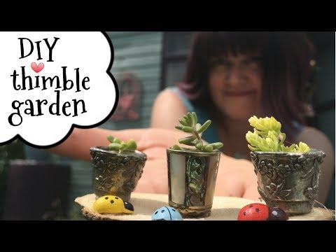 DIY Miniature garden ideas in a thimble. A DIY miniature garden tutorial