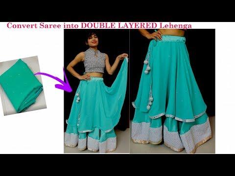 DIY: Convert Old Saree into Double Layered Lehanga only in 10 minutes| DIY Umbrella Cut Skirt