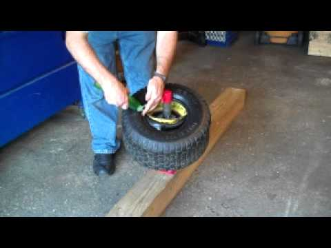 How to mount a tire on a lawn tractor
