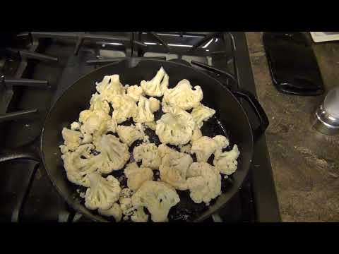 Roasted Cauliflower in a Cast Iron Pan