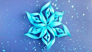 Modular 3d origami snowflake tutorial easy instructions. New year christmas diy 3d  paper snowflakes