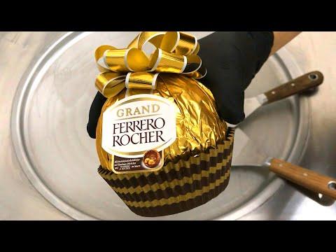 GIANT Ferrero Rocher - Ice Cream Rolls with Chocolate and Hazelnut | homemade ferrero rocher recipe