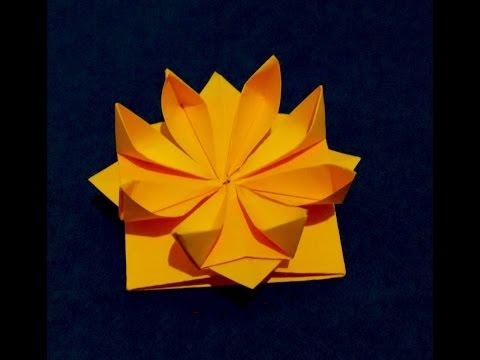 Easy Origami flower. 3d paper flower.  Great decor for gift box.  Ideas for Gift