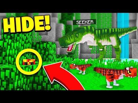 WORLDS BEST HIDER?...   JURASSIC WORLD HIDE & SEEK! - Minecraft Mods