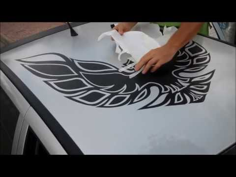 CARBON FIBRE WRAP EAGLE DECAL APPLICATION MADE USING VINYL PLOTTER @GRAPHICBLING