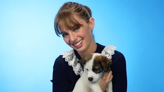 Maya Hawke Plays With Puppies While Answering Fan Questions