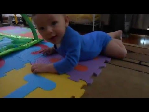 Typical Behavior - 5 Month Old Baby (Learning to Crawl)