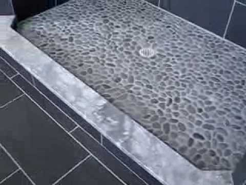 how to install porcelain wall and floor tile -pebble stone grouted shower flooring finished bathroom
