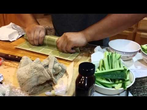 Cutting and plating sushi roll