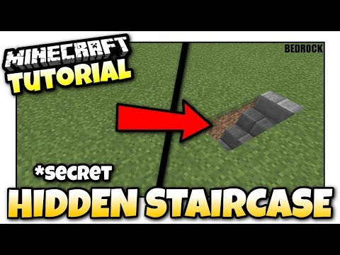 Minecraft - HIDDEN STAIRCASE *Secret [ Redstone Tutorial ] MCPE / Xbox / Bedrock
