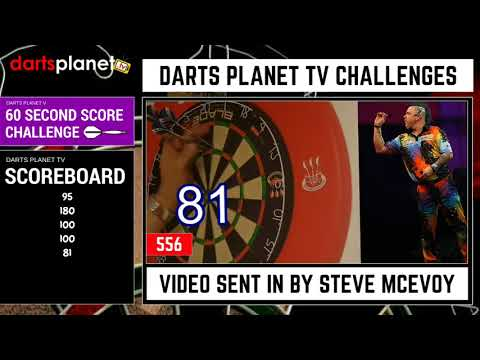 STEVE MCEVOY BREAKS WORLD RECORD FOR HIGHEST DARTS SCORE IN 60 SECONDS - 60 SECONDS DARTS CHALLENGE