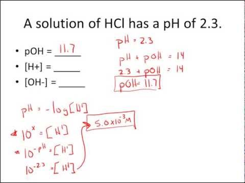 Given pH & pOH, Solve for [H+] & [OH-] Practice Problems