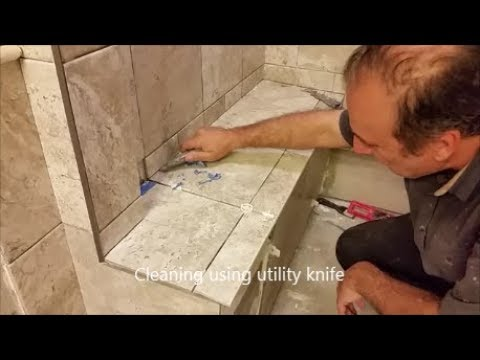 Tile Around The Shower Bench  - Difficult Area  - Step By Step