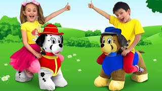 Download Sasha plays with Puppy Patrol and builds Playhouses for Horses Video