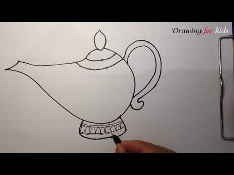 Aladdin Genie Lamp | How to draw the famous Magic Lamp step by step easy