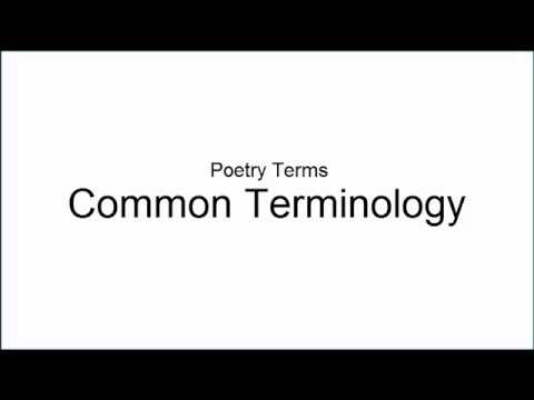 Poetry Terms: Common Terminology