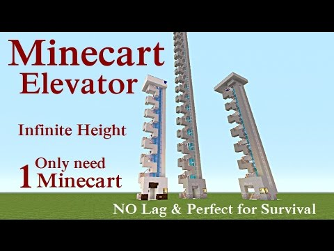 Minecraft Tutorial : Minecart Elevator, Infinite Height with 1 Minecart
