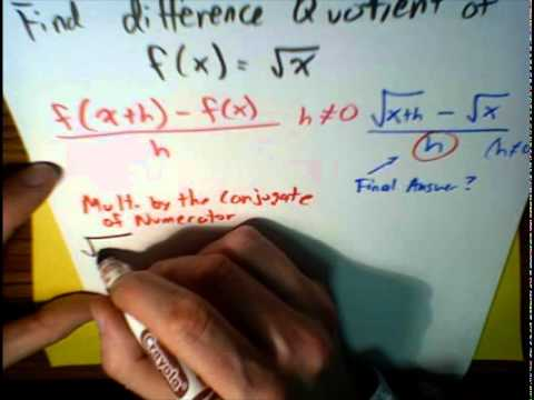 (3 of 3) Use Difference Quotient with a radical function... MathWOEs