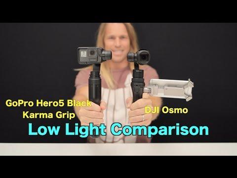 DJI Osmo vs GoPro Hero5 + Karma Grip - Low Light Comparison - GoPro Tip #586