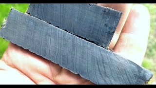 Damascus by hand, forge welding old files and bandsaw blades.