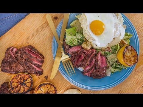 Rachael's Caesar Salad with Sliced Steak and Frico Egg