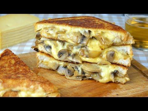 Mushroom, Onion & Gouda Cheese Sandwich - Grilled Cheese Sandwich with Sauteed Mushrooms & Onion