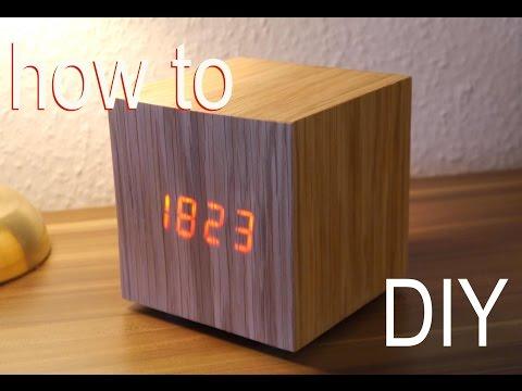 DIY Designer Würfel Uhr Anleitung - WOOD CLOCK