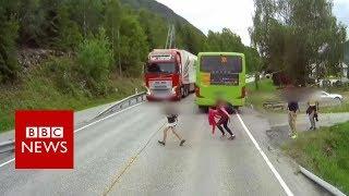 Dashcam captures truck