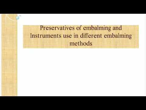 Embalming method's in use instruments.