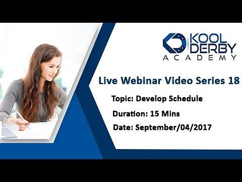 Kool Derby PMP / CAPM Webinar Series 18 on the topic Develop Schedule