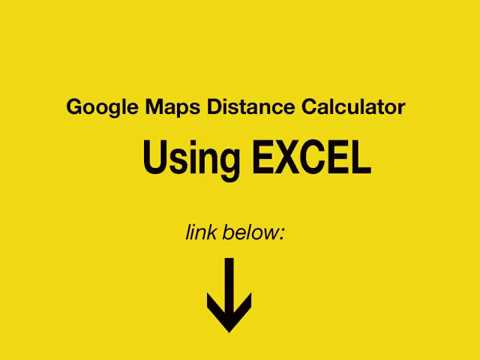 Google Maps Distance Calculator using Excel