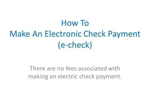How To Pay by E Check