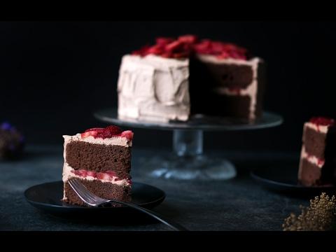 Chocolate Cake with Macerated California Strawberries