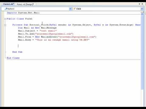 VB.NET Tutorial 24 - Sending An Email (Visual Basic 2008/2010)