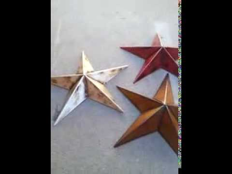 12 Inch Rustic Metal Brown Barn Star Country Rustic Primitive Home Decor - Set 3