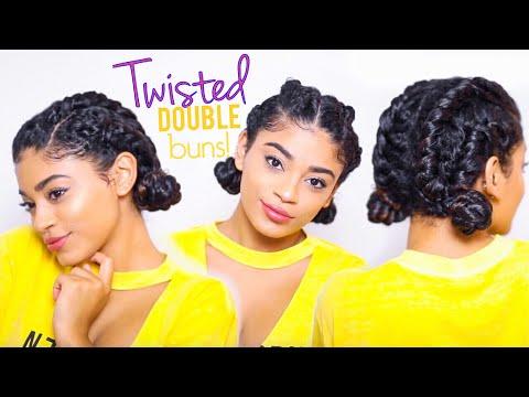 Twisted Double Buns - Curly Hairstyle | jasmeannnn