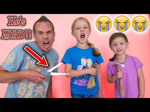 Angry Dad Chops Kids Hair Off After Epic Slime Prank!!! New Hair Cuts!