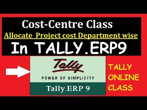 Cost Centre Class in Tally.ERP9/Cost Allocation Department-Wise