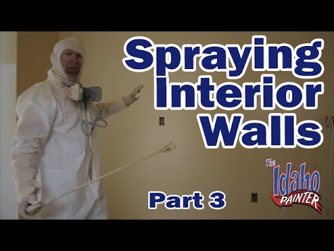 Spraying Interior Walls With An Airless Paint Sprayer.  How to paint drywall.  DIY painting.