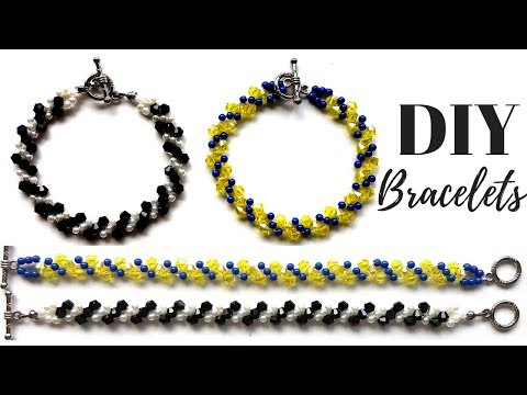 How to make a bracelet.  Jewelry diy.  Beaded bracelet with crystal beads