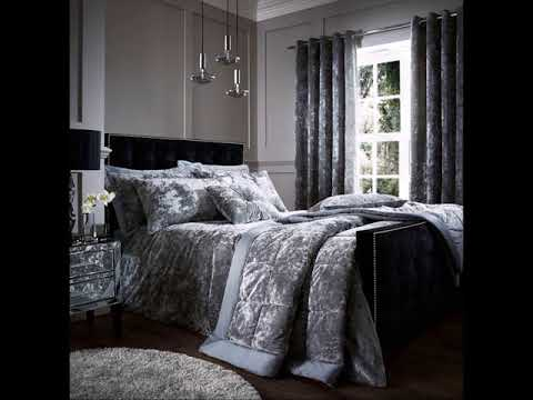 Crushed Velvet Duvet Quilt Cover Set, Bed Linen Double King Size Bedding, Silver