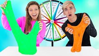 MYSTERY WHEEL of SLIME CHALLENGE!!! (Best DIY WINs $10000)   Sis VS Bro