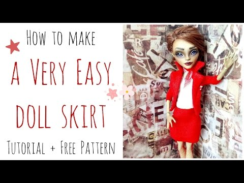 How to make a doll skirt - Monster High skirt easy for beginners + free pattern / Doll Clothes