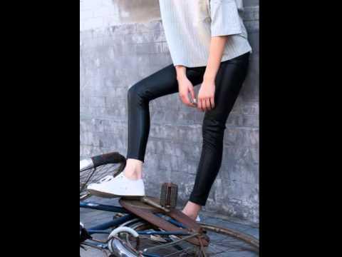 Slim leisure trousers skinny feet pencil trousers.avi