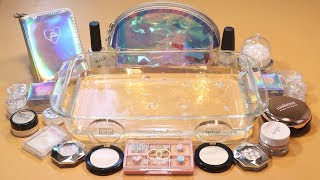 """Mixing """"Hologram"""" Makeup,clay,slime,glitter... Into Clear Slime! """"Hologramslime"""""""