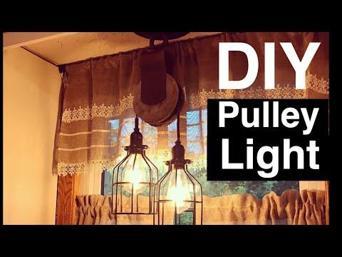 Wood Pulley Light w/ Edison Bulbs DIY