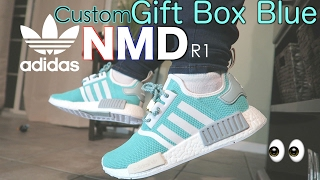 How To  Custom Adidas NMD R1 GIFT BOX BLUE w  On Feet Review and TimeLapse   Tiffany  f91df5864